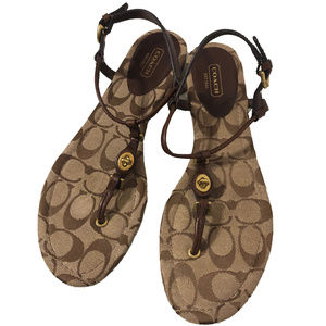 Authentic COACH 'Robyn' Thong Sandals Turnlock